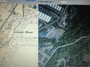 1892 Map of Glenlee House & today's satellite image of the same area.