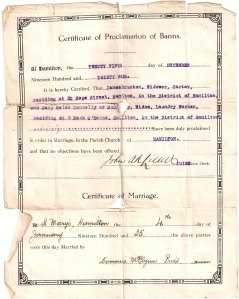 James Brunton & Mary McAuley's marriage Cert.