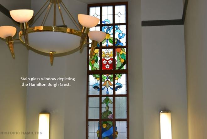 Stain Glass window with Burgh Crest..JPG