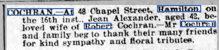 Janey Cochran Hamilton Advertiser 26-08-1916.