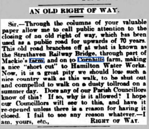 An old Right of way - Hamilton Herald.