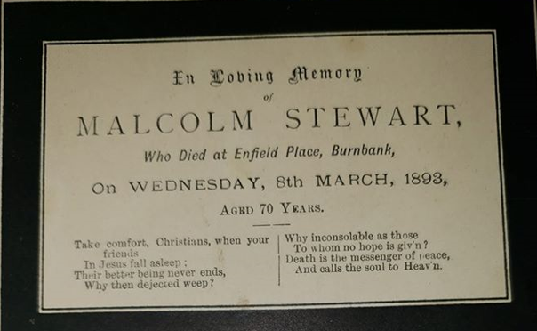 Malcolm Stewart Death Card.