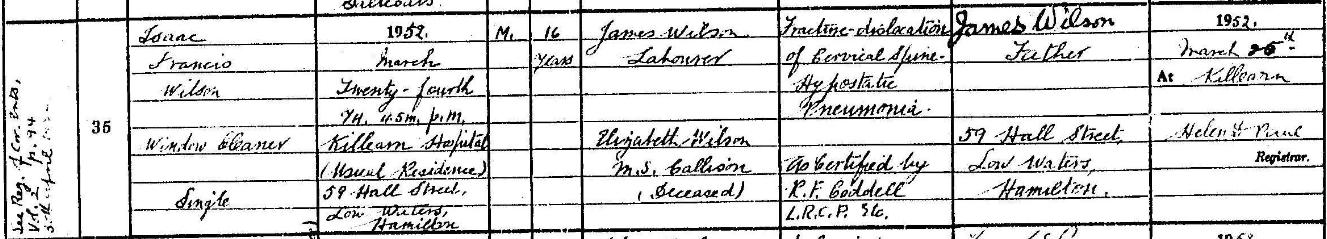 Isaac Wilson death.